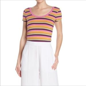 Abound Multi-color double scoop neck tee size XL